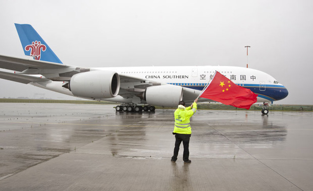 China Southern first Airbus A380 emerges from the paint shop