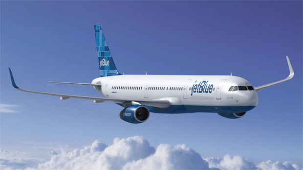 Rendering of JetBlues Airbus A321 aircraft, appropriately named 3 2 1 blue