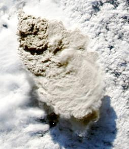 Detail image of the Puyehue 2011 Volcanic Eruption taken by NASA's Aqua Satellite, showing the heavy ashen cloud