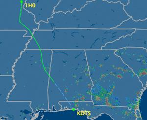 Flight path of N692TT