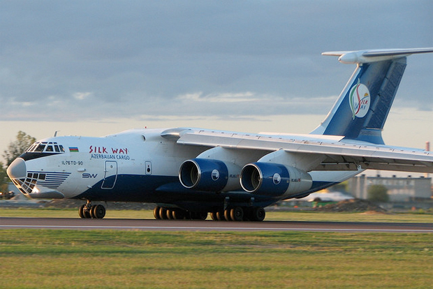 Silk Way Airlines Ilyushin IL-76 4K-AKZ100 similar to the accident aircraft, seen taxiing at Talinn Estonia.