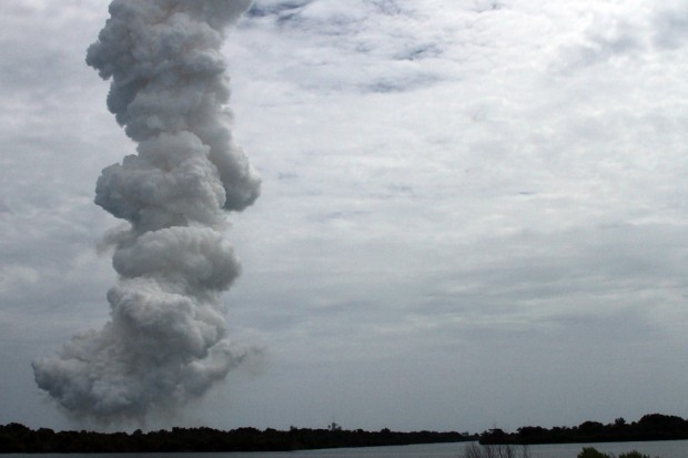 Smoke left behind at the Kennedy Space Center's launch pad 39A