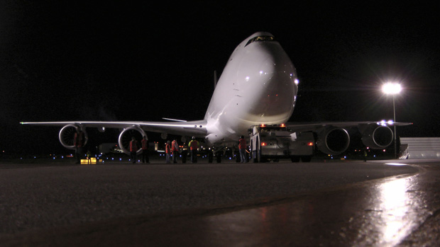 Boeing 747-8 Freighter RC523 at Paine Field, Wash. after completing a 17 hour test flight.