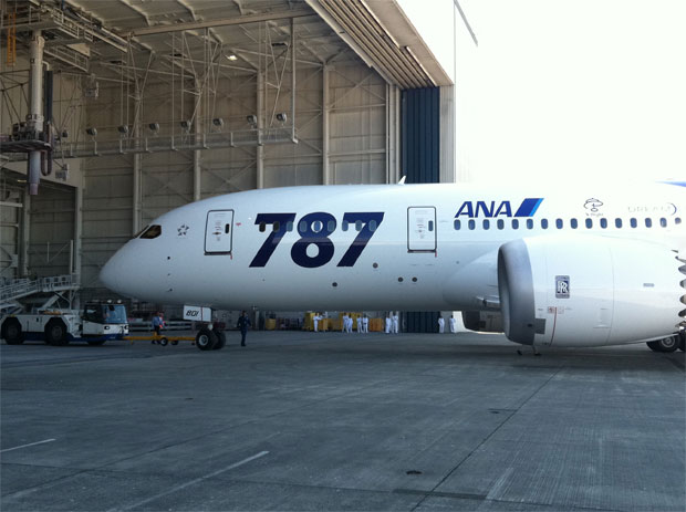 ANA's first Boeing 787 Dreamliner at an August rollout ceremony