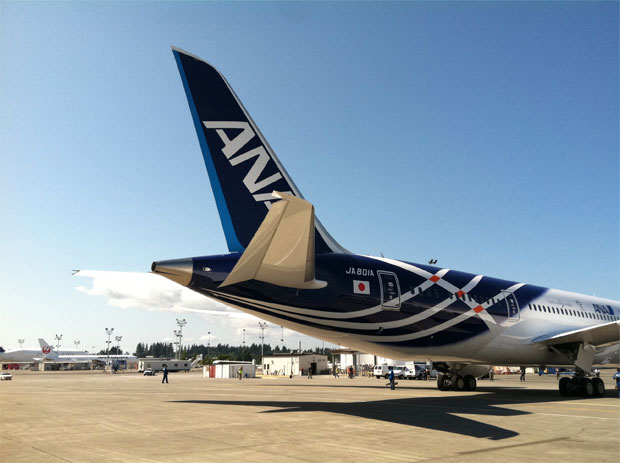 Special livery on the tail of ANA first Boeing 787 Dreamliner