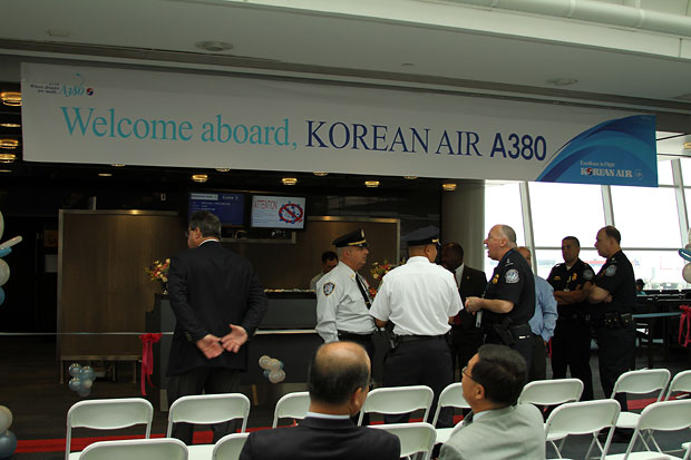 A380 welcome event set up at Gate 5