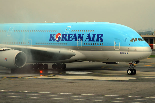 Water cannon salute for Korean Air's first Airbus A380 arrival to New York JFK Airport Terminal 1
