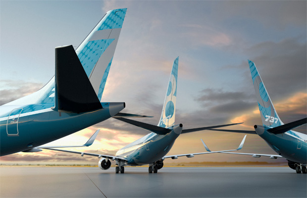Computer rendering of Boeing 737 MAX family tails