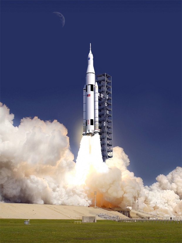 Rendering of the new Space Launch System leaving the launch pad