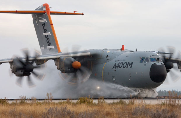 Airbus Military A400M during water ingestion testing in Istres, France on October 27th, 2011.