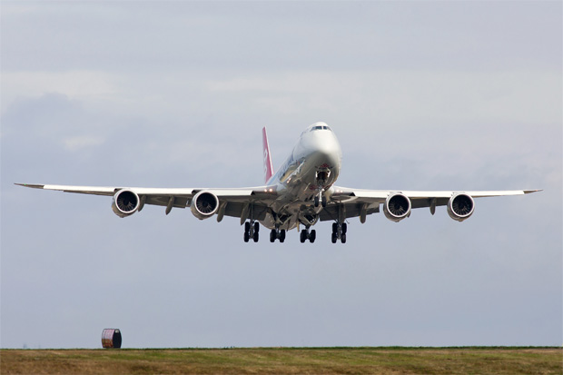 Cargolux Boeing 747-8F takes off on delivery flight