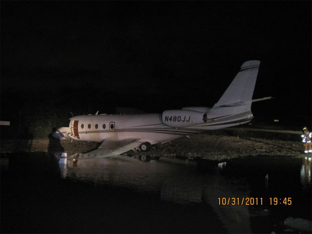 Gulfstream 150 belonging to Jimmie Johnson Racing after skidding off runway at Key West International Airport.