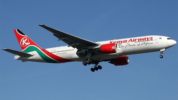 A Kenya Airways Boeing 777-200ER 5Y-KQT on final approach to Amsterdam Schiphol Airport