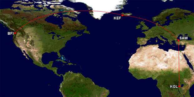 Approximate flight path for the delivery trip. Total distance: 9167 miles