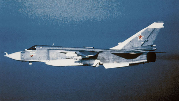 Sukhoi Su-24 Fencer in flight circa 1989