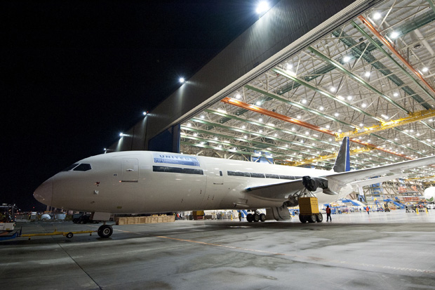United's first Boeing 787 Dreamliner emerges from the assembly facility in Everett, Wash