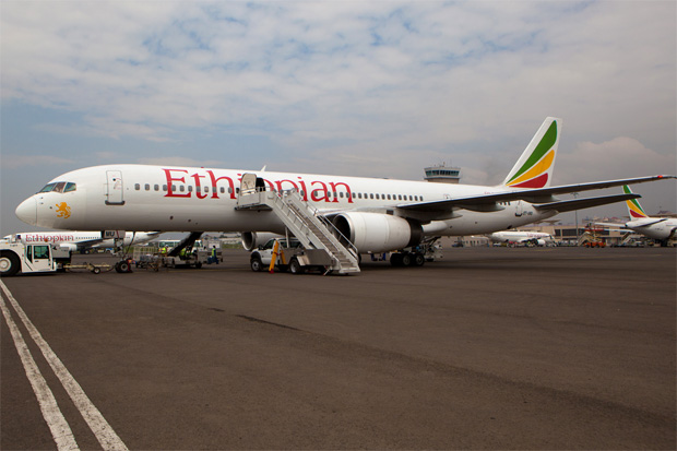 An Ethiopian Boeing 757 at Addis