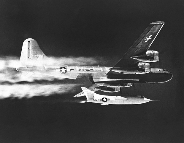 A Douglas D-558-2 Skyrocket is dropped from a US Navy Boeing P2B Superfortress, the Navy's version of the B-29