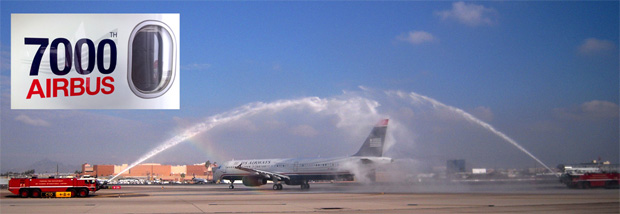 Airbus's 7,000th plane gets a water cannon salute