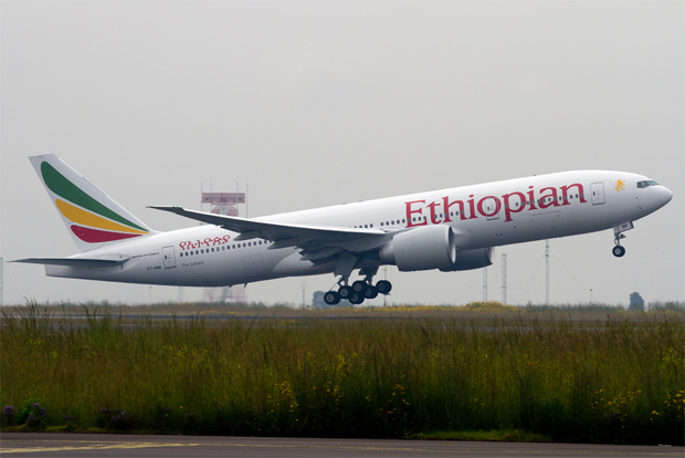 Ethiopian Airlines Boeing 777-200LR taking off