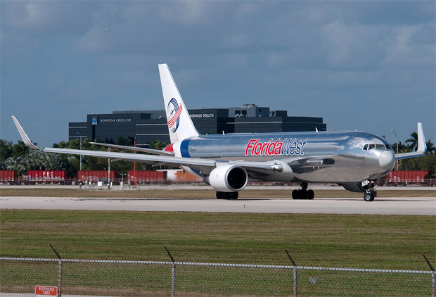 A Florida West International Airlines Boeing 767-300F N316LA taxis for departure in Miami.