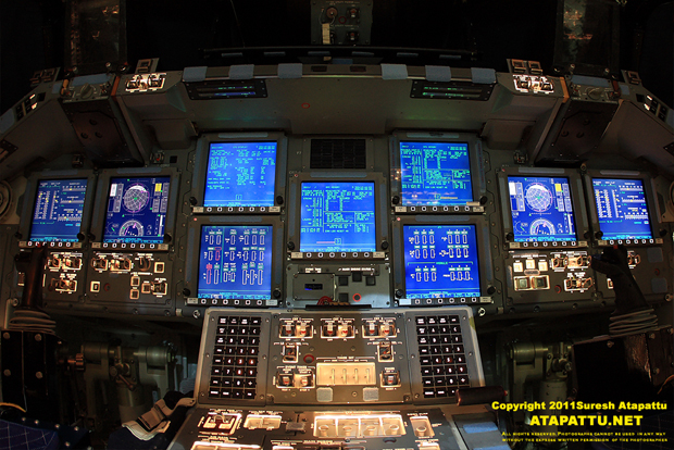The close up view of the 9 screens that dominate the front panel of Atlantis