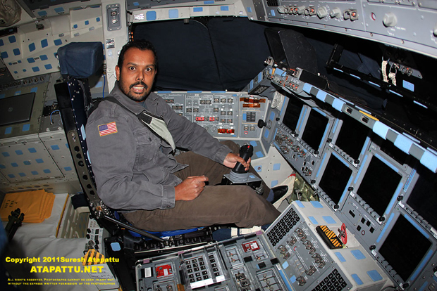 The author in the commander seat on the flight deck of Atlantiss.