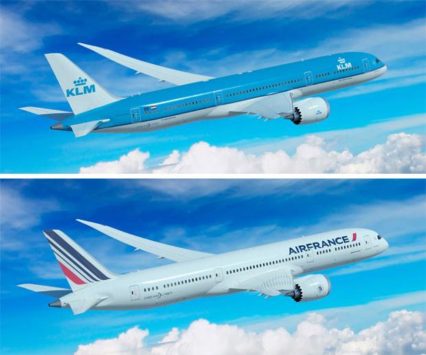 Artist renderings of KLM and Air France Boeing 787-9 Dreamliners