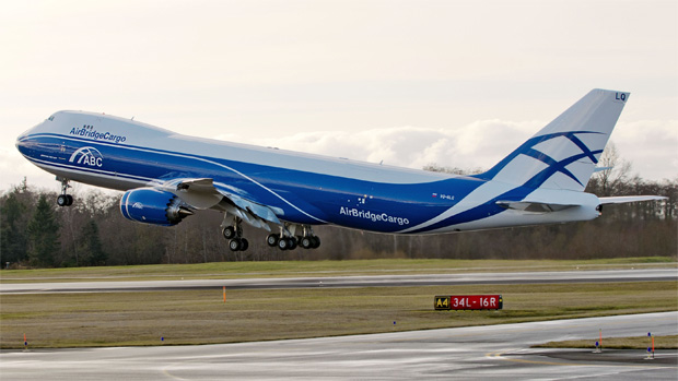 AirBridgeCargo Airlines Boeing 747-8F VQ-BLQ takes off on a test flight