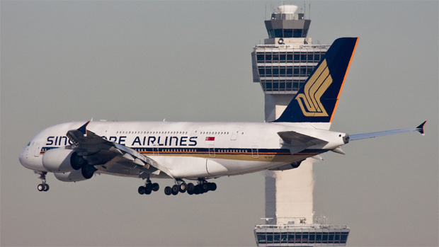 Singapore Airlines Airbus A380 9V-SKK on short final for New York JFK