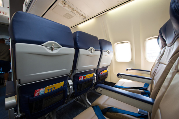 Southwest Evolve uses aluminum seatback trays rather than plastic.