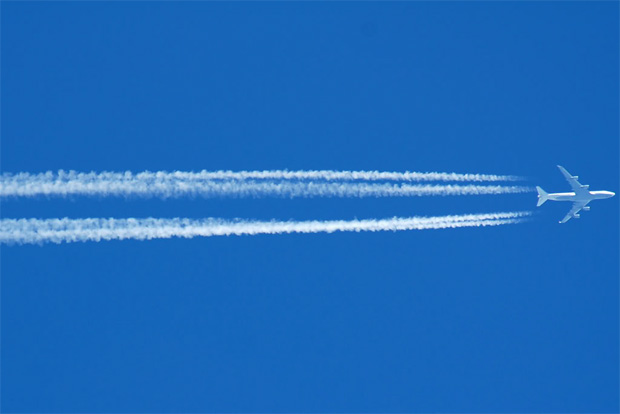 Photo of the Day: Lufthansa's service to somewhere in Germany leaves contrails over Poughkeepsie, New York.