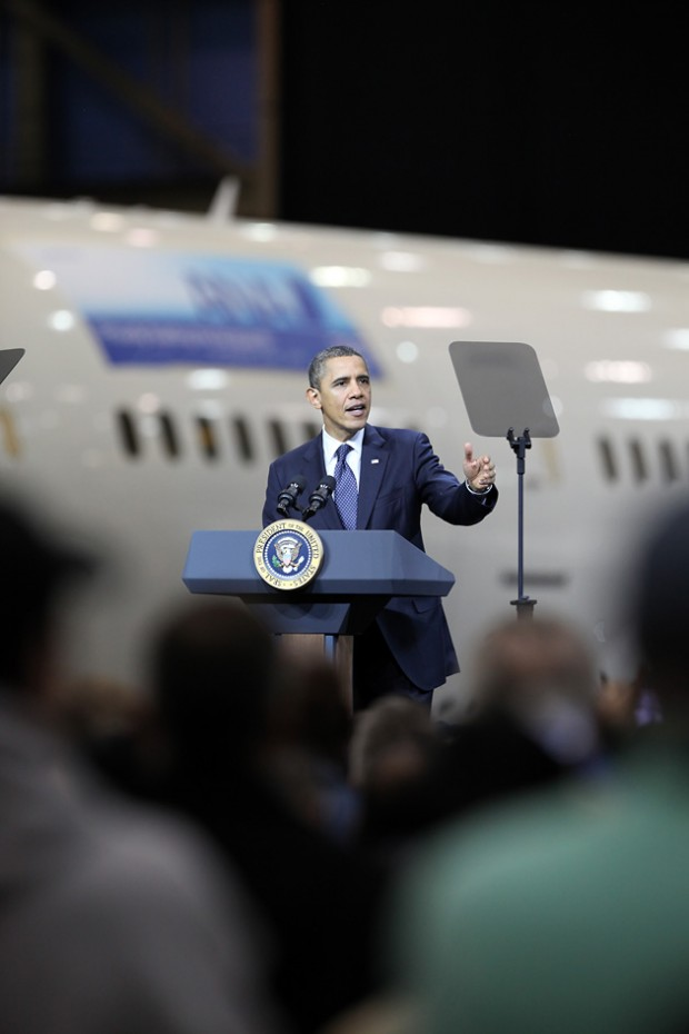 President Barack Obama was the first sitting president to tour Boeing since Bill Clinton in 1993