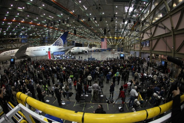 Boeing 787 Dreamliners for United Airlines, All Nippon Airways and an undisclosed carrier sit inside the final assembly building ahead of President Obama's speech.