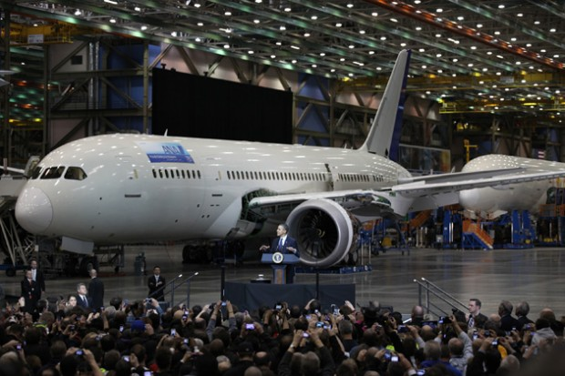 President Barack Obama speaks to a crowd of Boeing employees, labor leaders and local politicians during a visit to Boeing's 787 final assembly building in Everett, Wash. 
