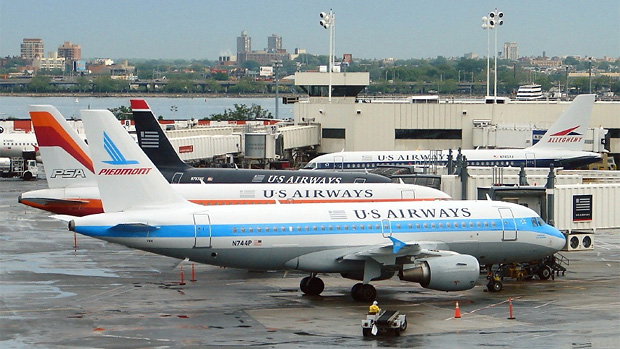 Three US Airways retro jets captured in one frame at LGA